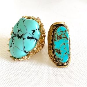Two turquoise & gold rings